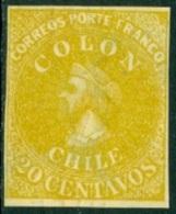 CHILE 1910 20c YELLOW DR. HUGO HAHN REPRINT, COLUMBUS - Chili