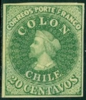 CHILE 1910 20c LIGHT GREEN DR. HUGO HAHN REPRINT - Chile