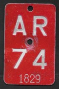 Velonummer Appenzell Ausserrhoden AR 74 - Placas De Matriculación