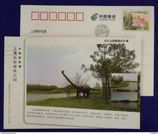 Dinosaur Sculpture,China 2013 Shanghai Seaside Forest Park Advertising Pre-stamped Card - Vor- U. Frühgeschichte