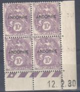 4173 ANDORRE Blanc 10 C   Yv 6    Coin Daté 12 2 30   Galvano A  Avec Trace De Charnière - Neufs