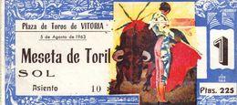 Ticket Corrida  Du 05/08/1963 PLAZA DE TOROS De VITORIA - Scans Recto-verso - Biglietti D'ingresso