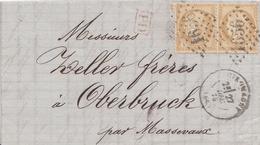 Env Affr Y&T 55 X 2 Obl GC 1656 + TàD GIROMAGNY Du 27 DEC 75 Adressée à Oberbruck - Marcofilie (Brieven)