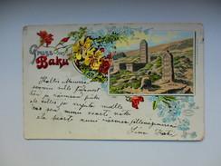 IMP. RUSSIA AZERBAIJAN  BAKU , CEMETERY , LITHO , OLD POSTCARD , RA - Azerbaïjan