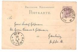 Deutsche Reichspost - Postkarte / Ganzsache / Entier Postal - 1885 - Aus Hannover - Allemagne