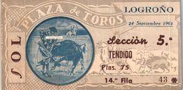 Ticket Corrida  Du 24/09/1961 PLAZA DE TOROS De LOGRONO  - Scans Recto-verso - Biglietti D'ingresso