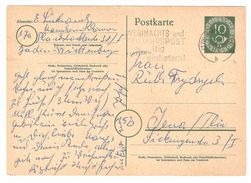 Deutsche Bundespost - Postkarte / Ganzsache / Entier Postal - Grossformat - Baden-Württemberg - 1953 - Interi Postali