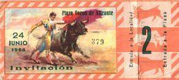 Ticket Corrida Du 24/06/1966  PLAZA DE TOROS De SORIA  - Scans Recto-verso - Biglietti D'ingresso
