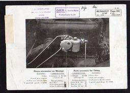 Publicité1920 Env / Fiche Carburateur Solex Pour Renault Type EU 1916/1918 Chez A. Renard Rue De La Marine à Caen 14 - Advertising