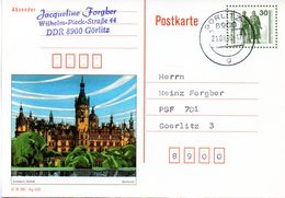 "DDR Amtl. GZS-Bildpostk. P109/03 30Pf. Oliv Mit Blindperforation ""Goethe-Schiller-Denkmal"", TSt 21.9.1990 Görlitz - Cartes Postales - Oblitérées"
