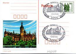 "DDR Amtl. GZS-Bildpostk. P109/03  30Pf. Oliv Mit Blindperforation ""Goethe-Schiller-Denkmal"" Blanko SSt 2.12.1990 BONN 12 - Postcards - Used"