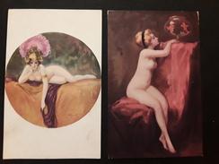 """2 CPA Illustrateur   A. PENOT  Poisson Rouge - Danseuse Au Voile Violet """"salon De Paris"""" Nue, érotisme - Künstlerkarten"""