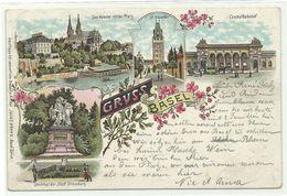 Basel U.a. Denkmal & Centralbahnhof Litho 1898 - BS Basle-Town