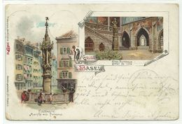 Basel Fischmarkt & Altes Rathaus Litho 1898 - BS Basle-Town
