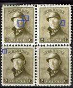 166 Bloc 4  **  T1 LCV 2  Griffes Visage, T1/2  Point Oreilles, T3 Point Cadre - 1919-1920 Roi Casqué
