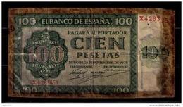 BILLETE DE 100 PESETAS DE 1936 - DETERIORADO - [ 3] 1936-1975 : Regency Of Franco