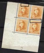 175 Bloc 4  **  Cdf Perforé C  T1 Et 4 LV 2 Retouches Cadre Sup. - 1919-1920 Roi Casqué