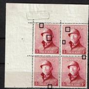 177 Bloc 4  **  Cdf  Dépôt 1920  T1 Point E Balafre T1 Point B Et 1914 T3/4 Taches Marges - 1919-1920 Roi Casqué