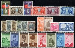 TURKEY 1939 Four Sets - Mi.1047-1070 MNH (postfrisch) Perfect - 1921-... Repubblica
