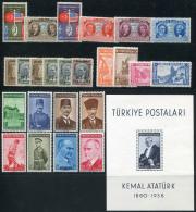 TURKEY 1939 Compl. Year - Mi.1047-1070 + Bl.1 MNH (postfrisch) Perfect - 1921-... République