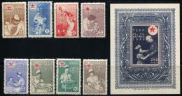 TURKEY 1946 - Mi.111-118 + Bl.2 MNH (postfrisch) Perfect (VF) - 1921-... République