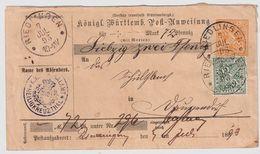 Württ. Postanweisung Mit Zusatzfrankatur, 1893 , #8496 - Wuerttemberg