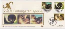 United Nations Cancellations Vienna, Geneva And NY - 2007 - FDC Endangered Species - Silk - Monkey - Gezamelijke Uitgaven New York/Genève/Wenen