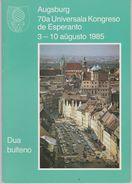 Esperanto 2nd Bulletin Congress 1985 Augsburg - Dua Bulteno Universala Kongreso 1985 Augsburgo - Oude Boeken