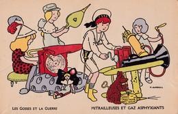 Carte 1915 Signée Aurrens : Les Gosses Et La Guerre : Mitrailleuses Et Gaz Asphyxiants :  Jeux , Jouets - Aurrens