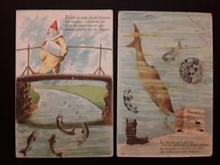2 CPA Illustrateur Premier Avril - Poisson - Circulé En 1905 Et ? - Erster April