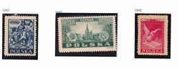 POLOGNE 1945 CONGRES ANNIVERSAIRE BATAILLE 449 453 ** MNH 447MH - 1944-.... Republic