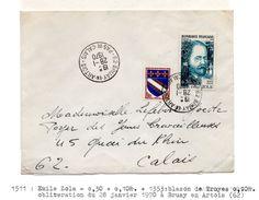 YT1511 Emile Zola Sur Lettre 1967 - France