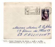 YT1513 St François De Sales Seul Sur Lettre 1967 - France