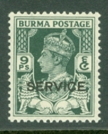 Burma: 1946   Official - British Civil Administration - KGVI 'Service' OVPT   SG O30    9p   MH - Burma (...-1947)