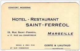 CARTE PUBLICITAIRE HOTEL RESTAURANT SAINT FERREOL ET CHARTREUX MARSEILLE - Alcohols