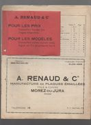 Morez Du Jura : Tarif RENAUD (plaques émaillées) 1934 (CAT 890) - Werbung