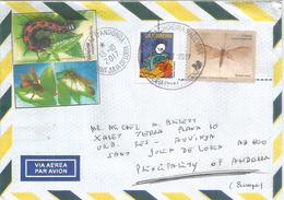 Geoparque Araripe. Fossil De Mariposa (Butterfly) Bresil, Lettre Adressée ANDORRA, Avec Timbre à Date Arrivée - Vlinders