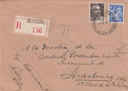 Env Reco Affr Y&T 656 + 715 Obl MULHOUSE RUE DE FRANCE Du 1710.1945 Adressée à Strasbourg - Reco Provisoire - Poststempel (Briefe)