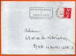 87 LIMOGES   BOITE AUX LETTRES NORMALISEE 1991   Lettre Entière N° FF 739 - Marcophilie (Lettres)