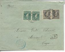 Lettre Recommandée De Buenos Aires>> Mirecourt 1897 Timbres 96x2, 101x2 Ligne U Paq.fr.N°1 - Argentina