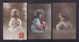 Série De 3 CPA Enfant Fillette Coiffée Et Habillée Avec élégance - Pretty Girl - Photo - Portraits