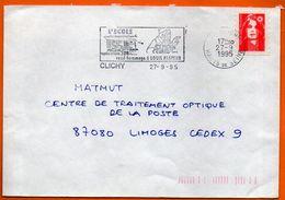 92 CLICHY L'ECOLE REND HOMAGE A LOUIS PASTEUR 1995   Lettre Entière N° FF 746 - Marcofilia (sobres)