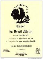 ETIQUETTE VIN  Cuvée Restaurant REVEIL MATIN 17 Marans Charente Maritime A32 - Etiquettes