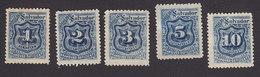 El Salvador, Scott #J25-J29, Mint Hinged/No Gum, Postage Due, Issued 1897 - El Salvador