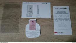 Echantillon Parfum Cartes Parfumées EAU DE LACOSTE L.12.12. COLLECTION - NEUF - Perfume Cards