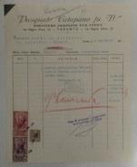 1943 TARANTO FATTURA COMMERCIALE PASQUALE CATAPANO FU V.ZO FORNITURE PER UFFICI CON MARCHE DA BOLLO REGNO V.EMANUELE III - Italia