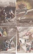 Lot 6 CPA Patriotique Militaire Chanson Mitrailleuse Vainqueurs Reprise Du Village Alliés Tranchée Patrie Aviation - Patriotiques
