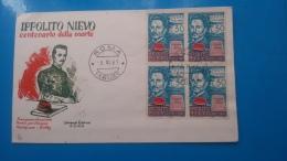 REPUBBLICA.ITALIA.STORIA POSTALE.BUSTA.FDC.IPPOLITO NIEVO.QUARTINA.54 - 6. 1946-.. Republic