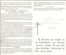 Broeder Ananias (1894 - 1959) Bidprentje - Images Religieuses
