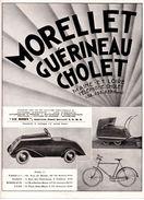 Publicité 1937, Morellet Guérineau, Maine Et Loire. Jouets. Autos à Pédales, Voitures D'enfants Et Poupées, Patinettes. - Publicités